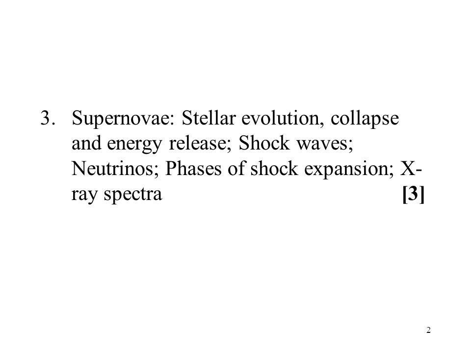 3. Supernovae: Stellar evolution, collapse and energy release; Shock waves; Neutrinos; Phases of shock expansion; X-ray spectra [3]